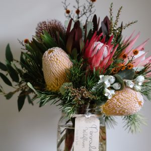 Native bouquet in jar